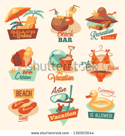 Retro Beach Emblems Stock Vector 130503044.