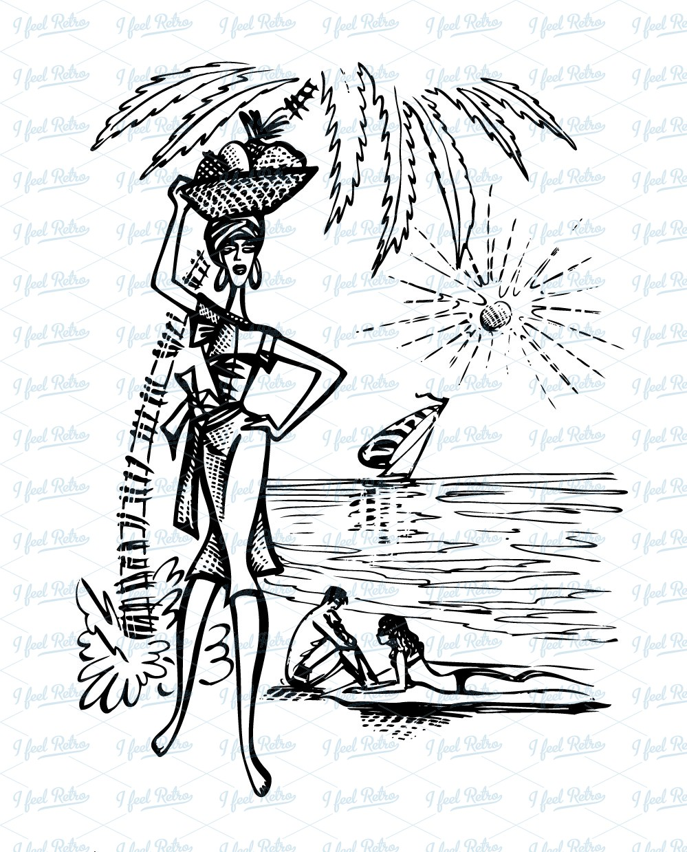 Retro Clipart: Tourism scene at the beachv.