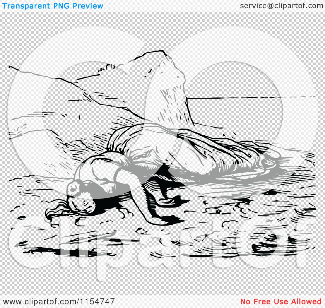 Clipart of a Retro Vintage Black and White Woman Washed up on a.