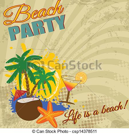 Vector Clip Art of Vintage Beach Party poster on retro style.