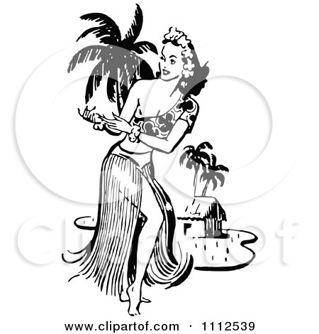 Clipart of a Retro Vintage Black and White Crowd on a Beach.