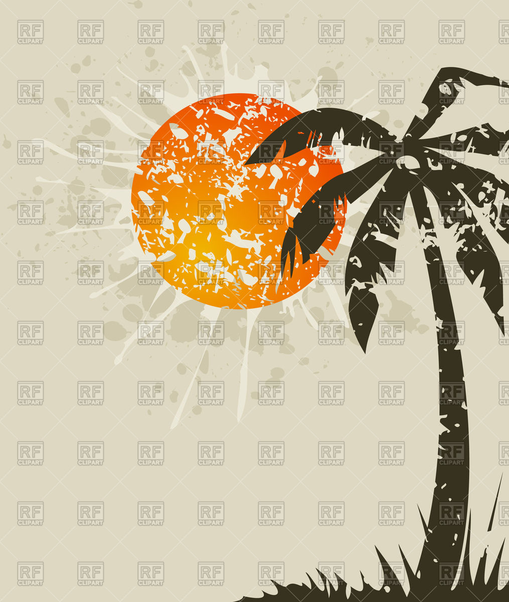 Beach retro card with palm tree and sun Vector Image #79712.
