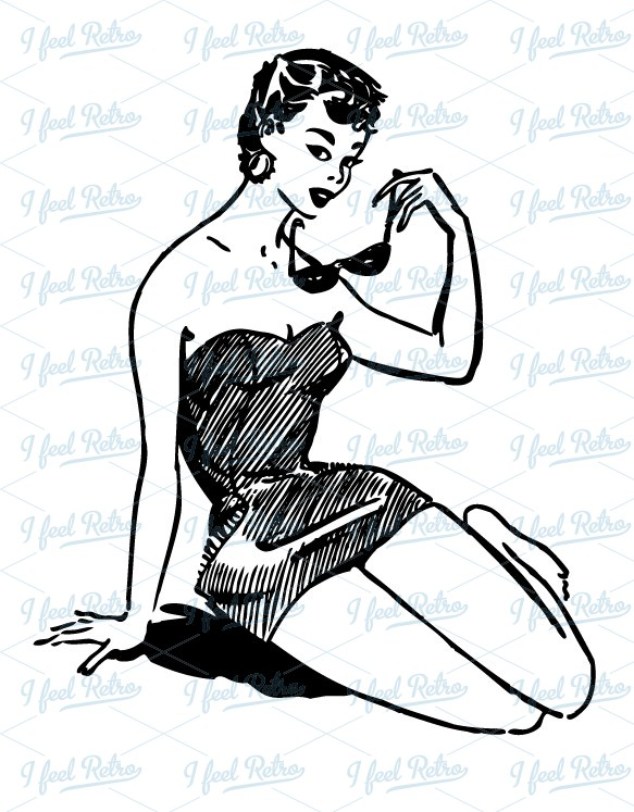 Retro Beach Clip Art.