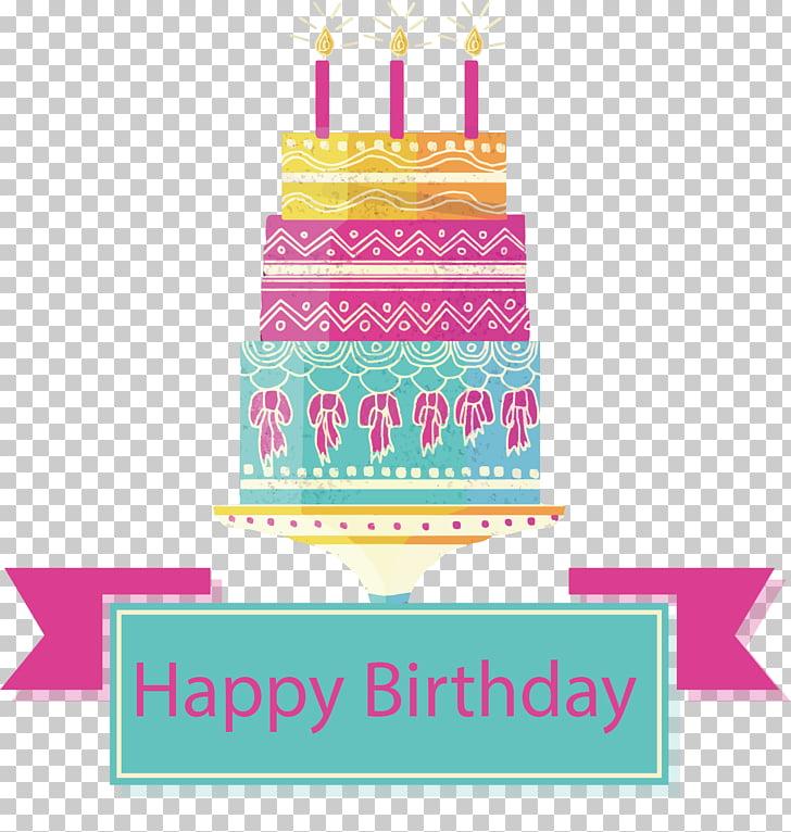 Birthday cake Torte Pink, Retro pattern pink cake PNG.