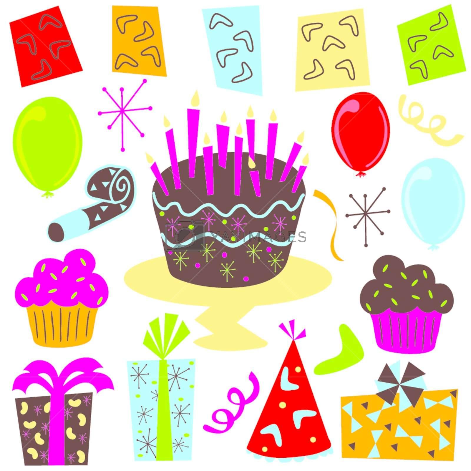 Retro Birthday Party clipart Stock Image.