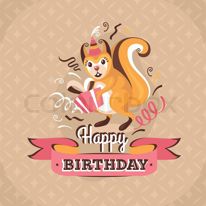 Vintage birthday greeting card with a.