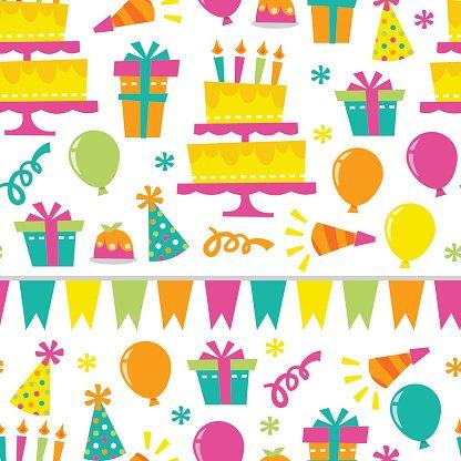 Retro Birthday Extravaganza Seamless Pattern Background.