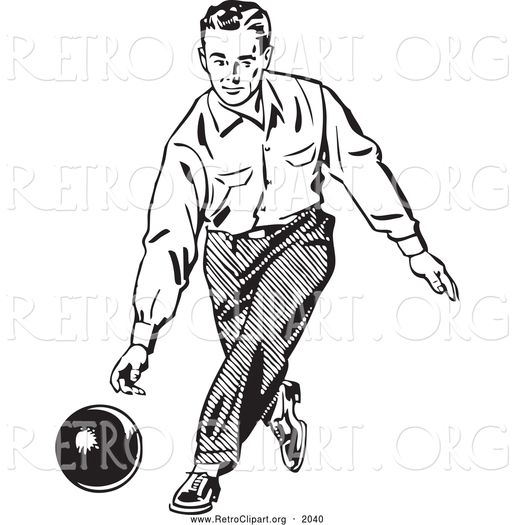 Retro Clipart of a Black and White Retro Man Bowling by.
