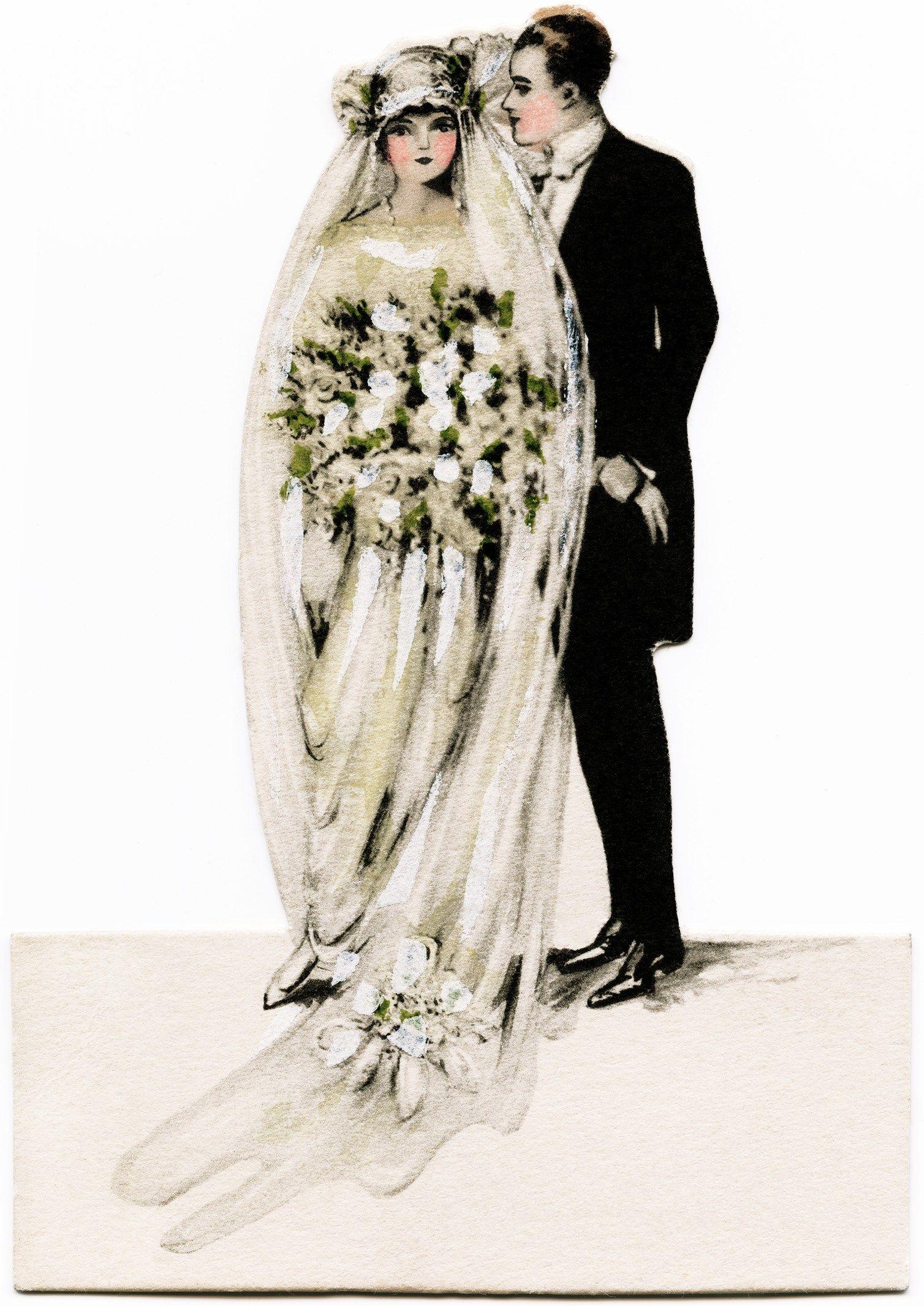 Victorian bride and groom, vintage wedding clipart, antique.