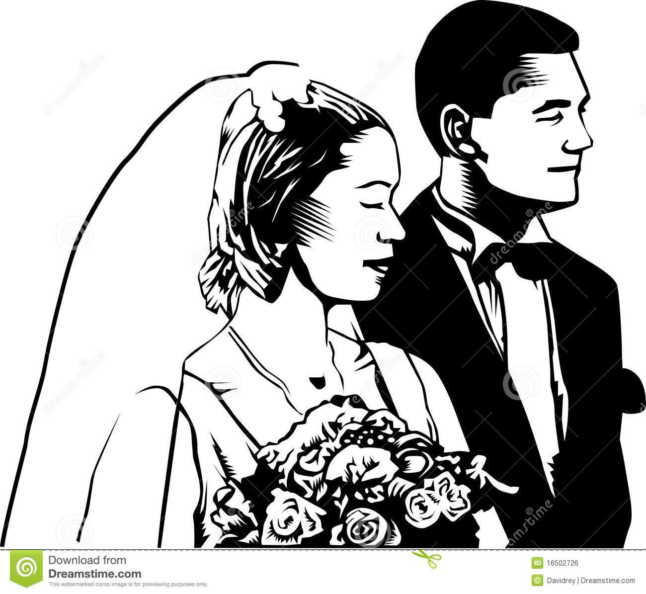 Vintage Bride And Groom Clipart.