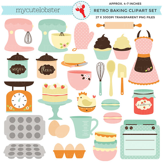Retro Baking Clipart Set.