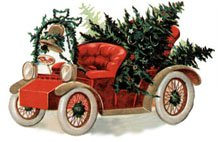 Vintage car with tree clipart.