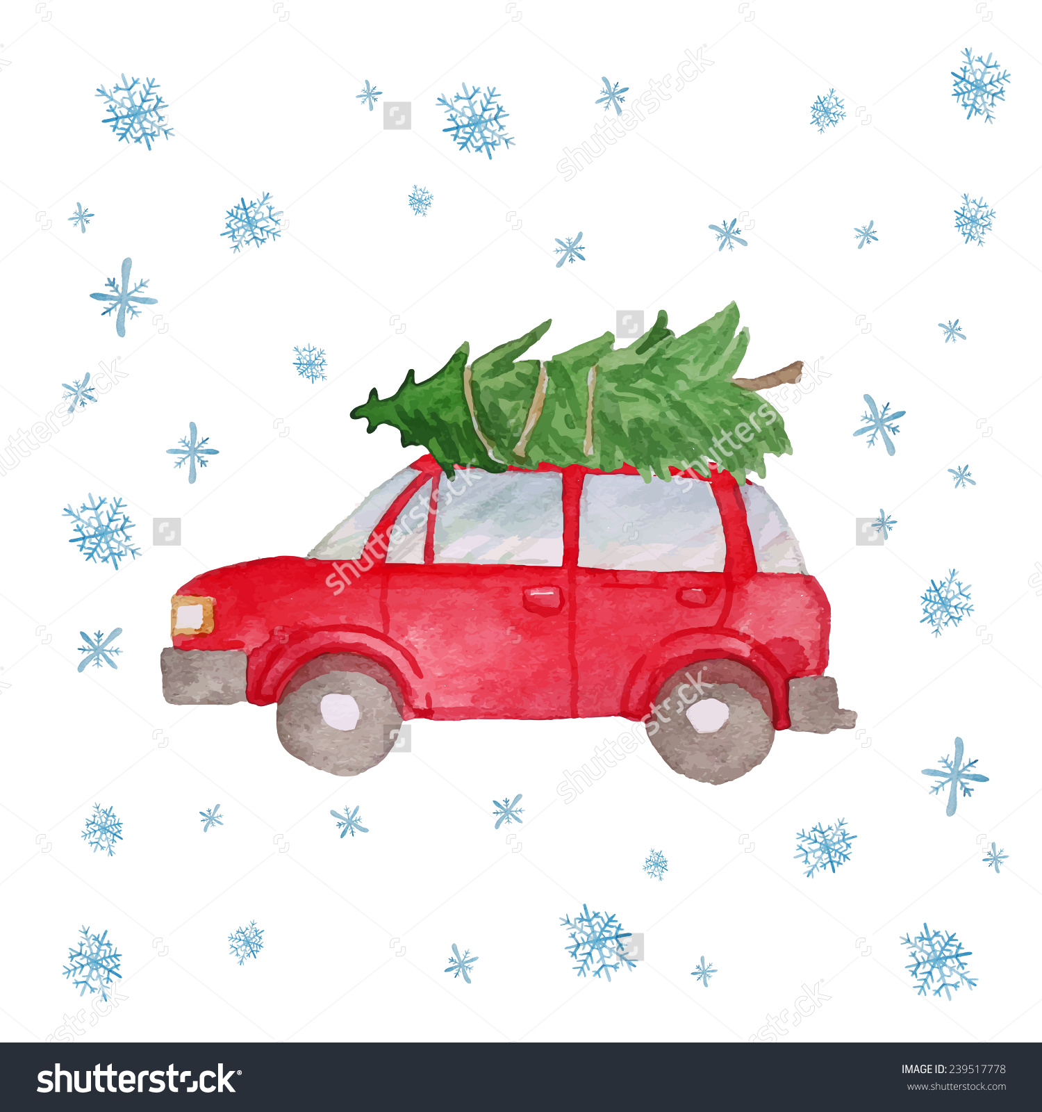 Winter Retro Car Christmas Tree Snowflakes Stock Vector 239517778.