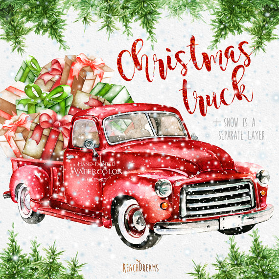 Watercolor Christmas Truck, Vintage Red Pickup, Pine Tree, Retro.