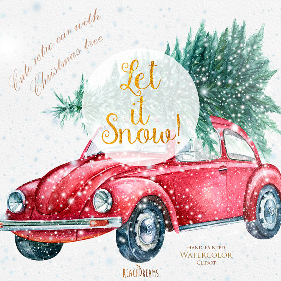 Cute Retro Car with Christmas Tree, Hand painted Watercolor.