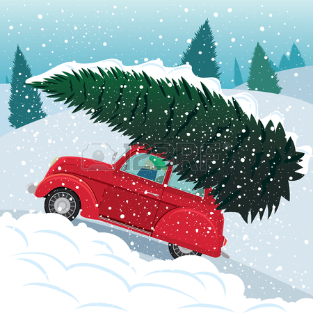retro car christmas tree clipart