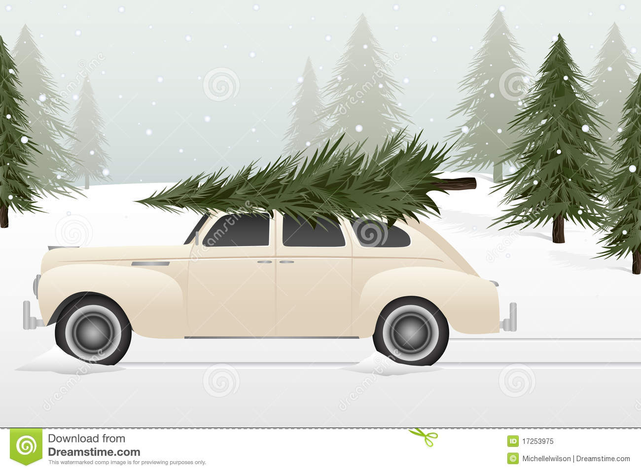 Retro Car Christmas Tree Clipart.