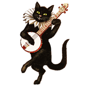 Vintage Cat Playing Banjo clipart, cliparts of Vintage Cat.