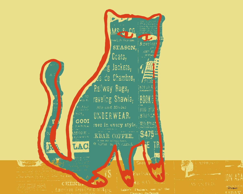 Free Vintage Cat Illustration Clipart Download.