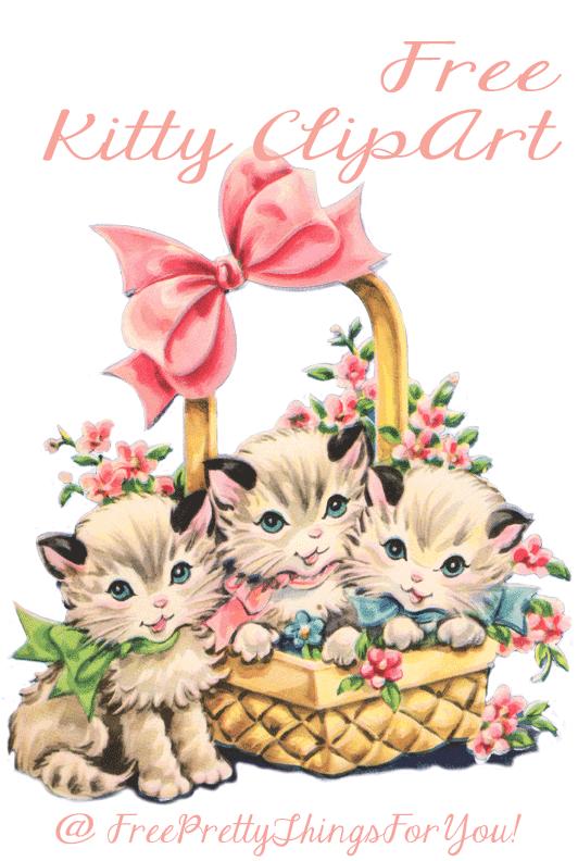 Free Vintage Kitty Cat Clip Art.