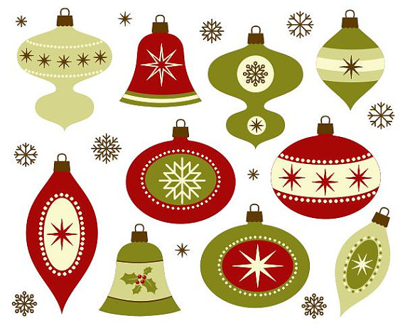 Retro Christmas Decoration Clip Art.
