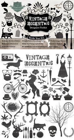 Retro Clipart Creator by sgc design on #CreativeMarket #design.