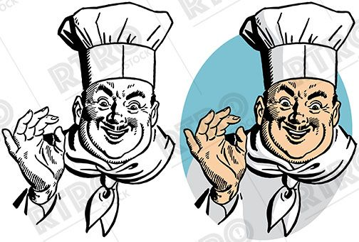 A chef in his apron and chef\'s hat vintage retro clip art.