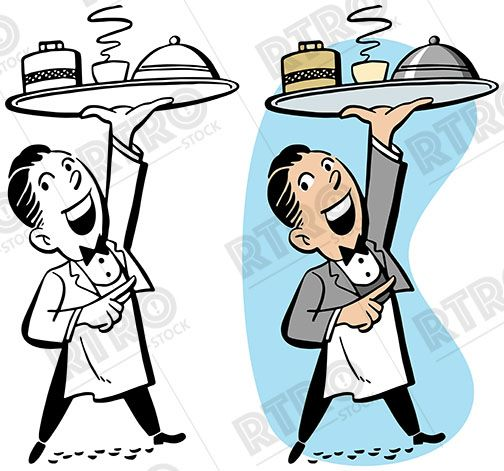 A waiter carrying a tray of food vintage retro clipart clip.