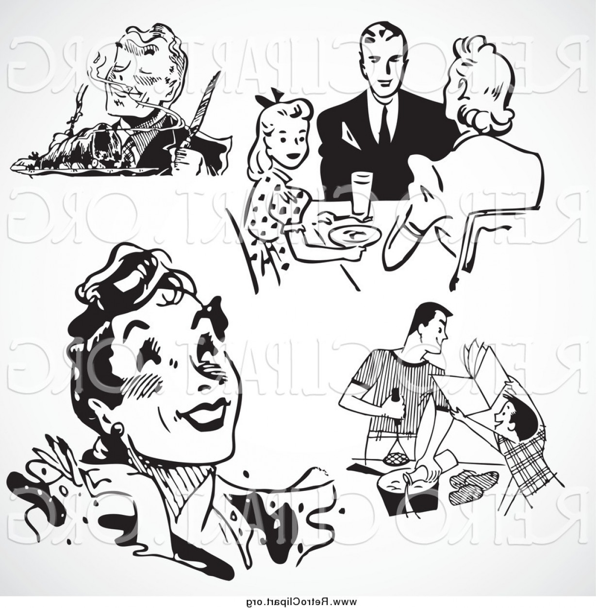 Clipart Of Black And White Retro People And Food By.