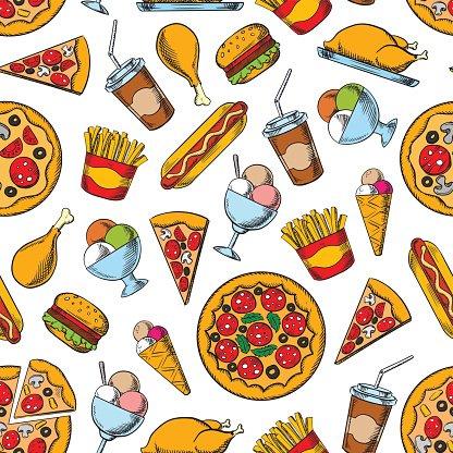 Retro seamless pattern of fast food dishes Clipart Image.