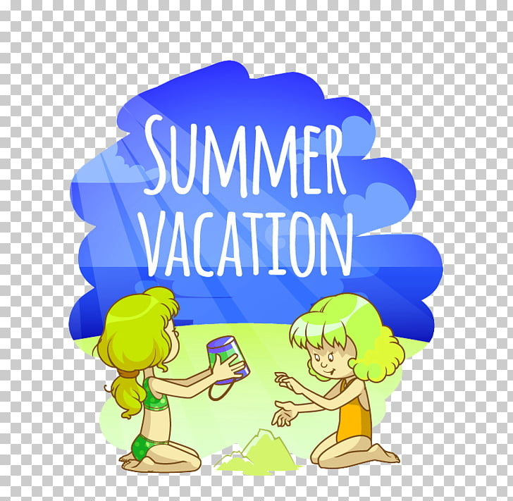 Cartoon Euclidean Illustration, Retro beach two girls PNG.