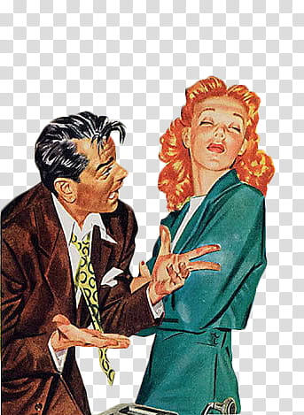 Retro, man and woman talking illustration transparent.