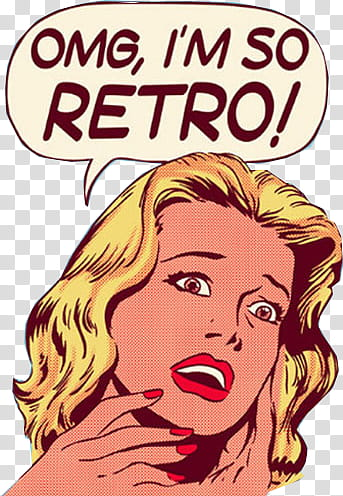 RETRO, OMG im so retro illustration transparent background.
