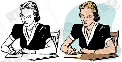 A woman writing a letter by hand retro vintage illustration.
