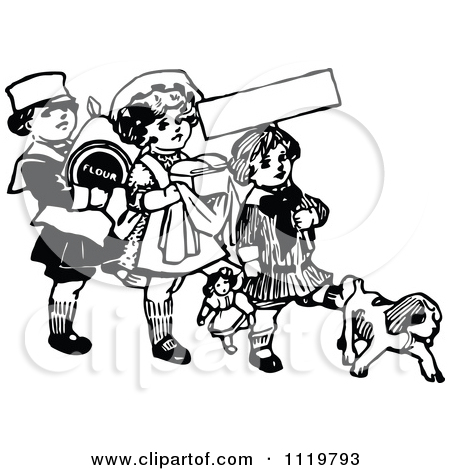 Clipart Of A Retro Vintage Black And White Girl Chasing A Dog With.
