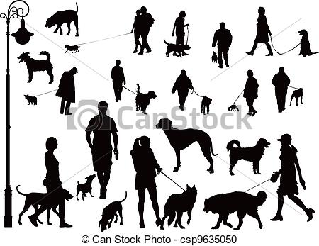 Retro Clipart People And Dogs.