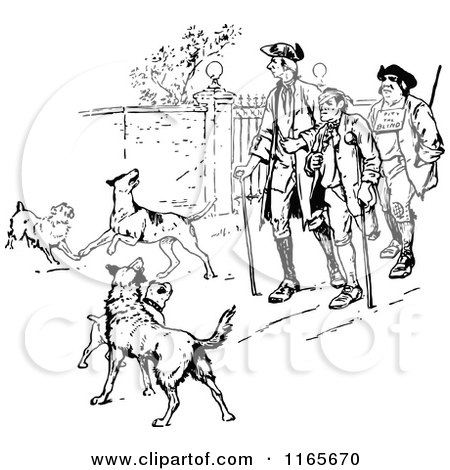 Clipart of Retro Vintage Black and White Injured Men and Dogs.