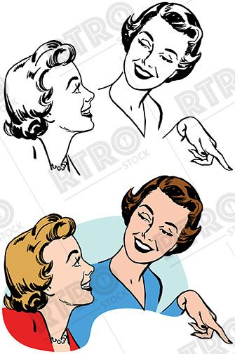 Two women smiling talking and pointing vintage retro clipart.