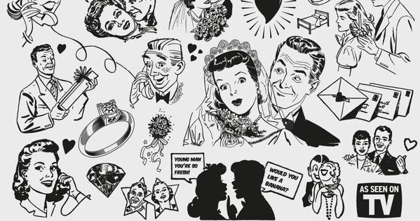 Free \'50s Love themed clipart.
