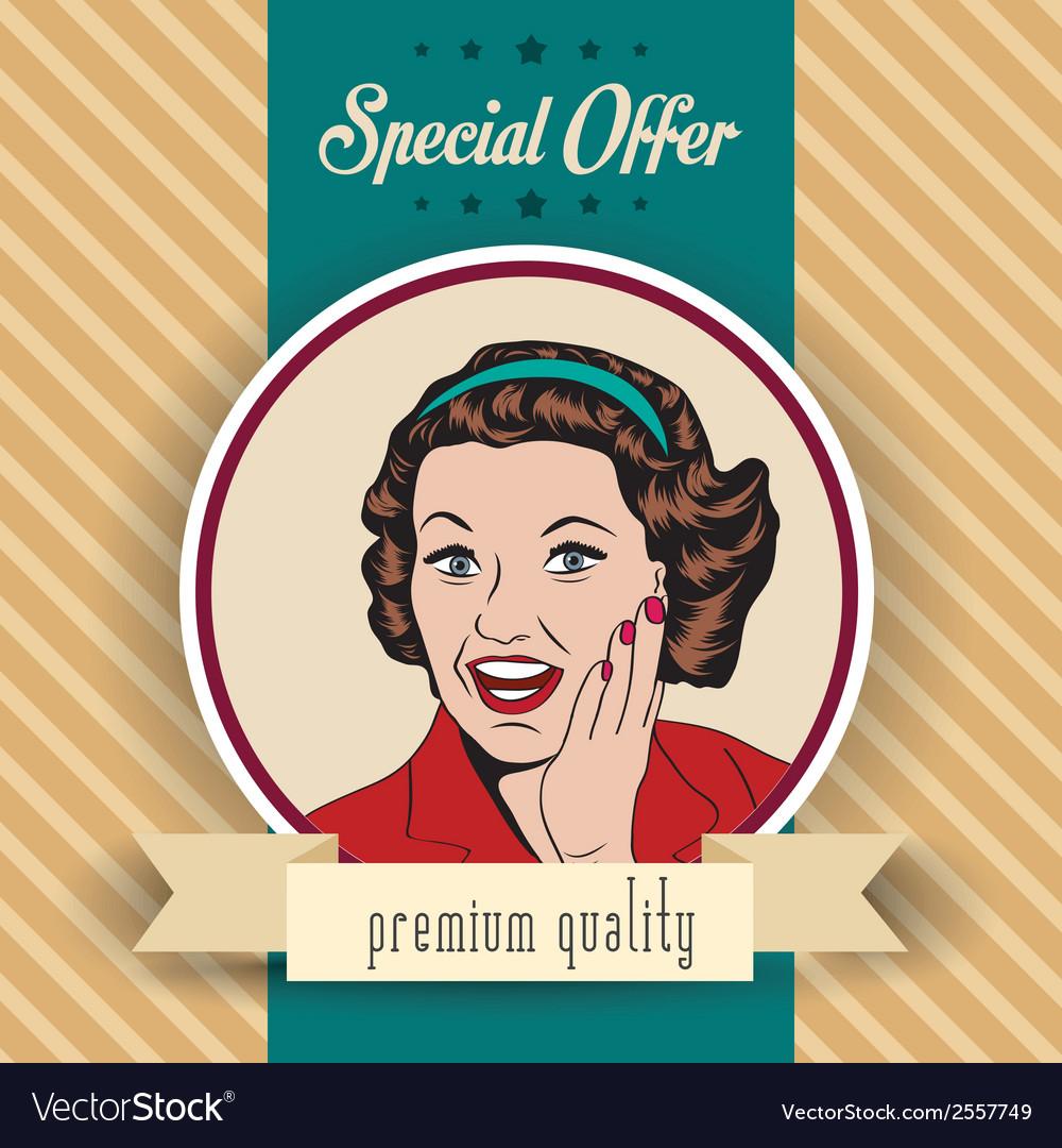Happy woman commercial retro clipart.