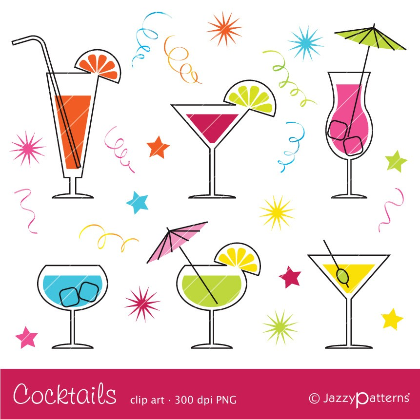 Retro Cocktail Clipart.