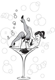 Martini cocktail girl clipart image for burlesque events, cocktail.