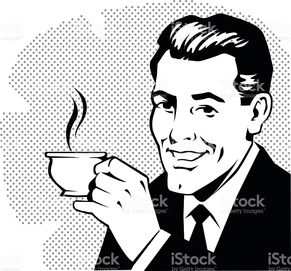Retro Man Drinking Coffee stock vector art 495273998.