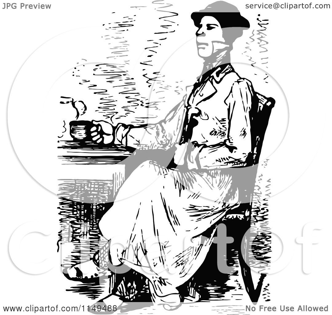 Clipart of a Retro Vintage Black and White Man Drinking Coffee or.