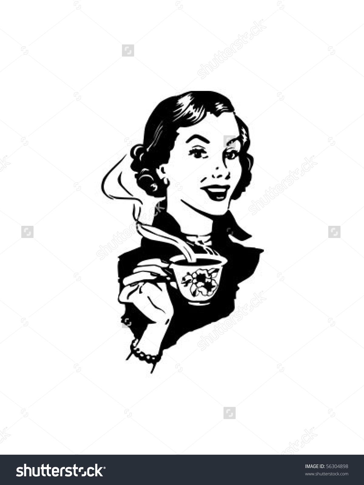 Coffee Lady Retro Clip Art Stock Vector 56304898.