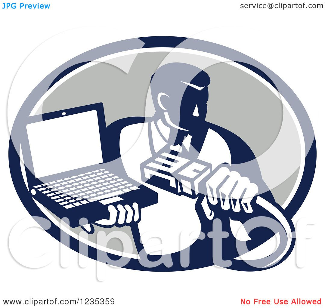 Clipart of a Retro Computer Repair Man with a Cable and Laptop in.