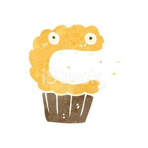 retro cartoon cupcake Clipart Image.