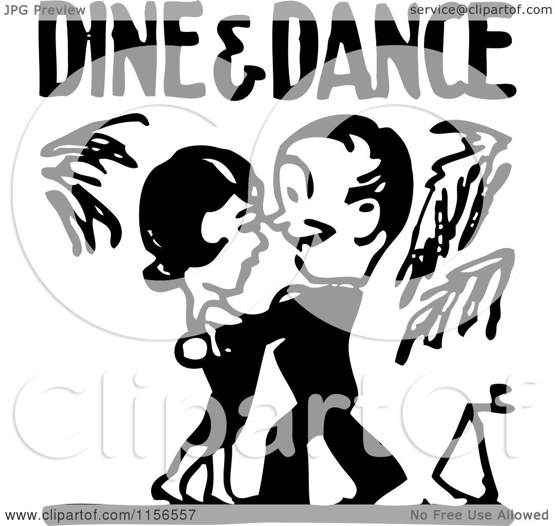 Clipart of a Black and White Retro Couple Under Dine and Dance.