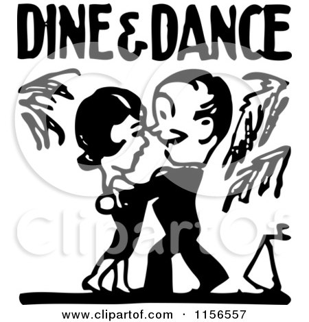Clipart of a Black and White Retro Couple Ballroom Dancing 2.