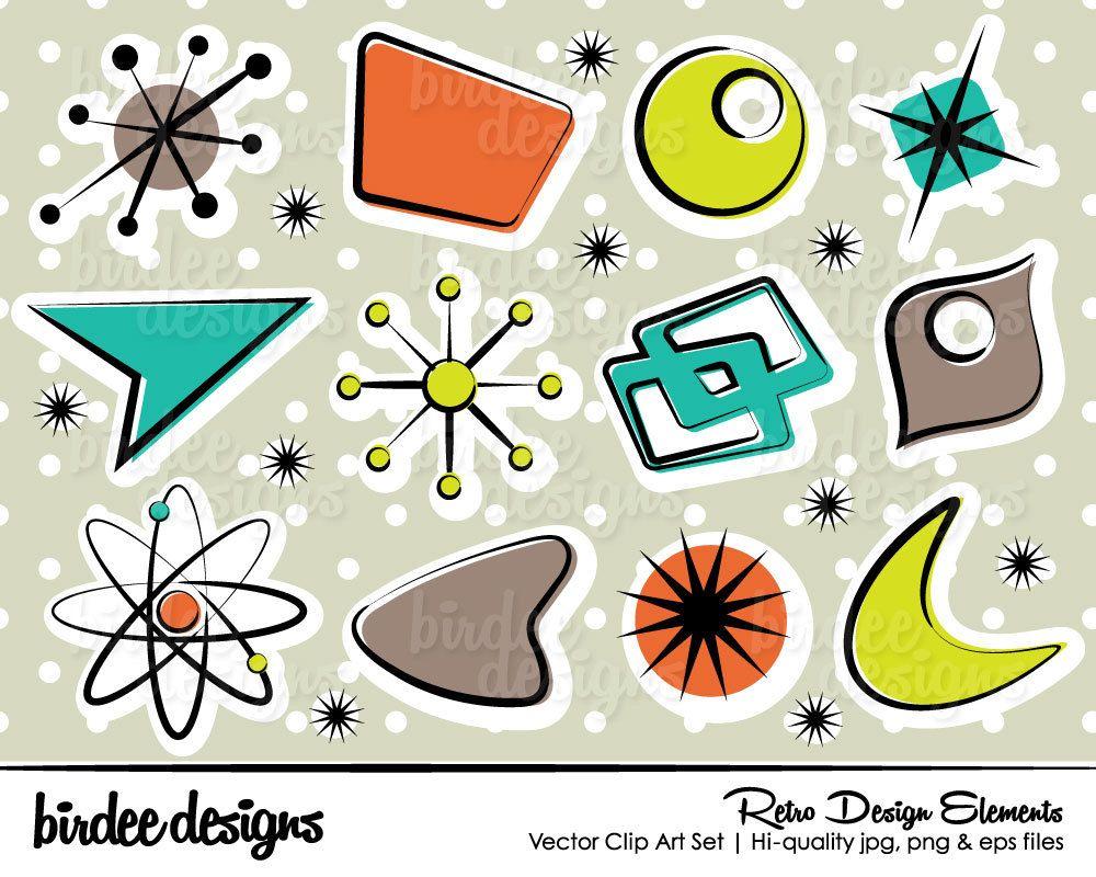 Retro Design Elements Clip Art Set Hi.
